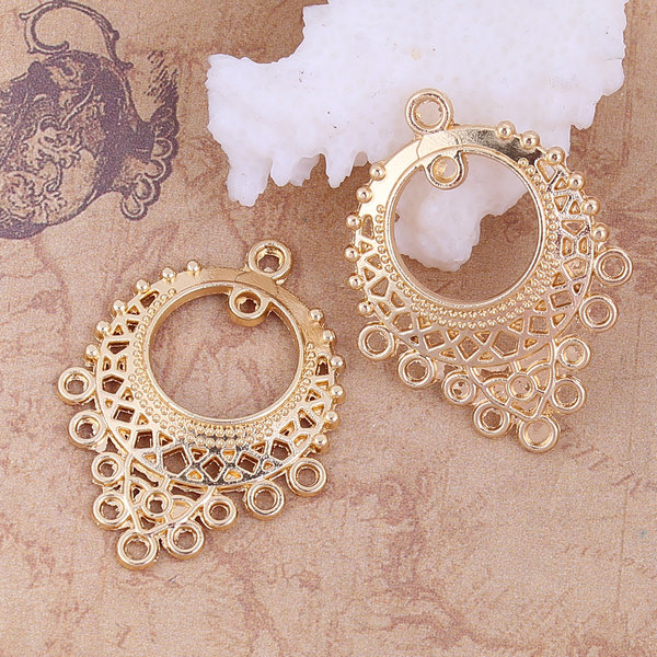 Chandelier Earring Connector 33x25mm Gold Plated, 2 pieces