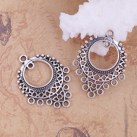 2 pieces Chandelier Earring Connector 33x25 Silver
