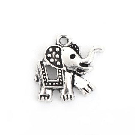 5 pieces Elephant Boho Charm 18x17mm Silver
