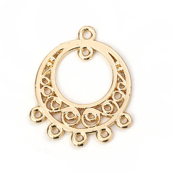 Chandelier Earring Connector 26x21mm Gold Plated, 2 pieces