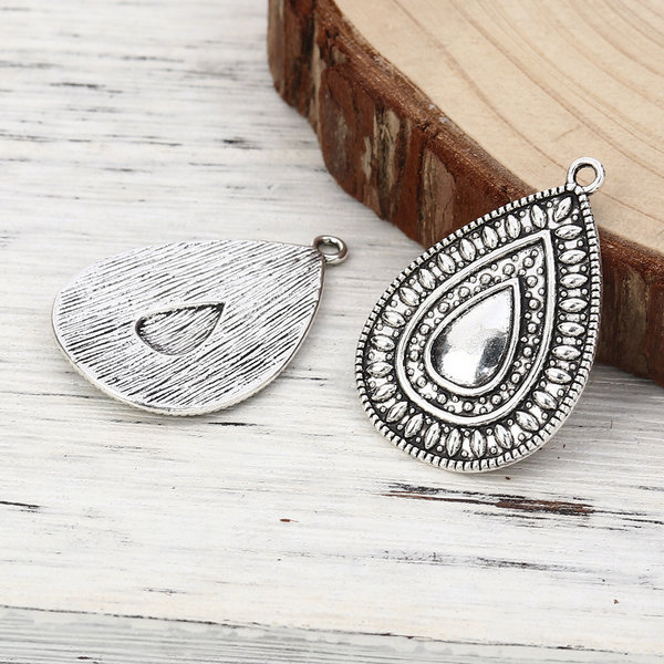 Boho Chic Drop Charms 37x25mm Silver, 3 pieces