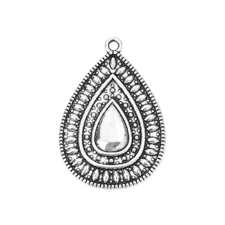 3 pieces Boho Chic Drop Charms 37x25mm Silver