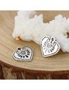 Boho Chic Heart Charm 16x15mm Silver, 5 pieces