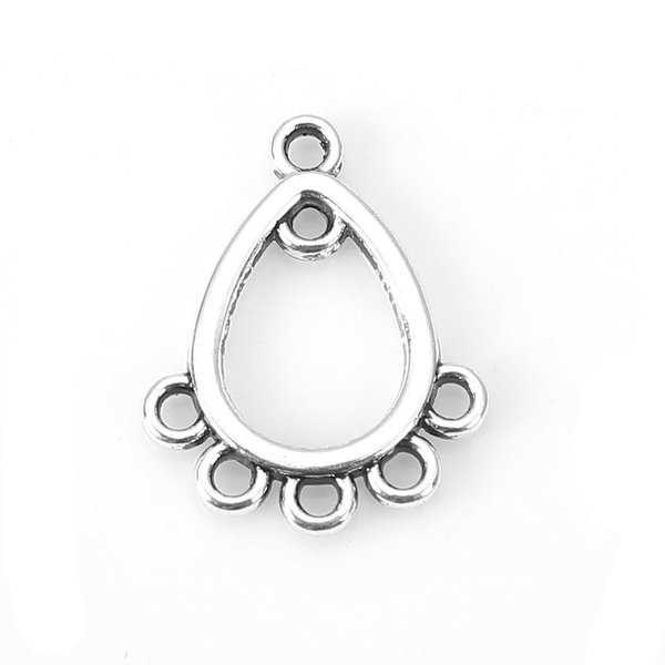 Chandelier Earring Connector 16x12 Silver, 6 pieces