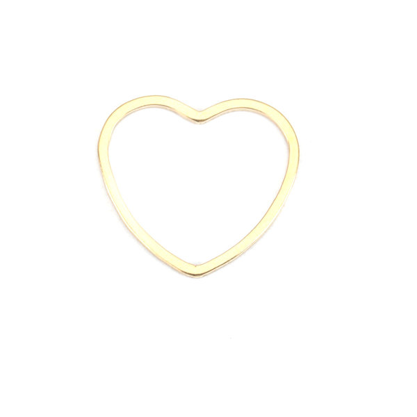 Stainless Steel Heart Connector 16x15mm Gold Plated, 3 pieces