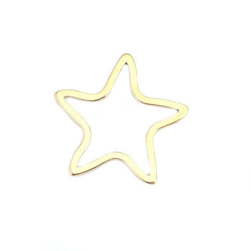 3 pieces Stainless Steel Star 17x16mm Gold Plated