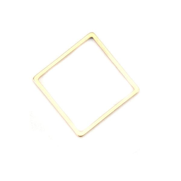 Stainless Steel Square Connector 16mm Gold Plated, 3 pieces
