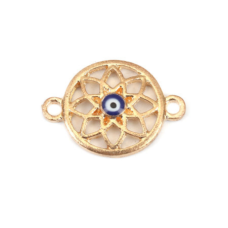 3 pieces Gold Plated Evil Eye Connector 23x16mm