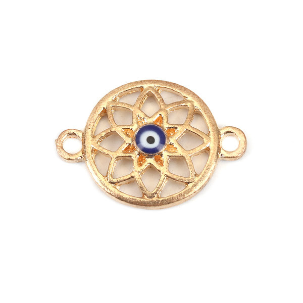 Gold Plated Evil Eye Connector 23x16mm, 3 pieces