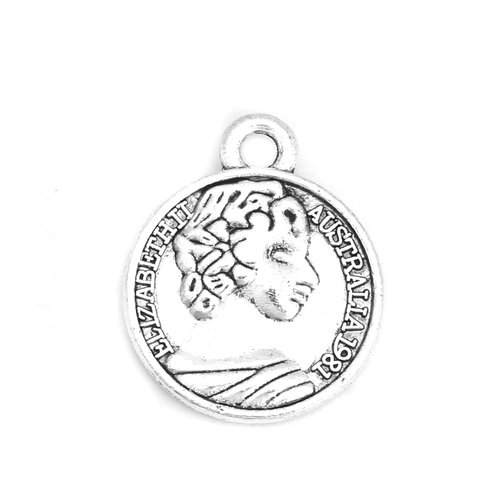 3 pieces Coin Charm with Lady Antique Silver 20x16mm