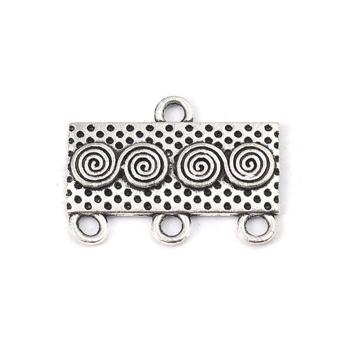 4 pieces Connector Rectangle with Spiral Silver 23x17mm