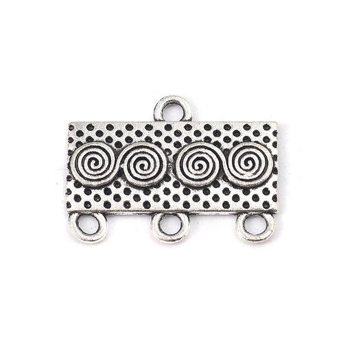 4 stuks Connector Rechthoekig met Spiraal Zilver 23x17mm