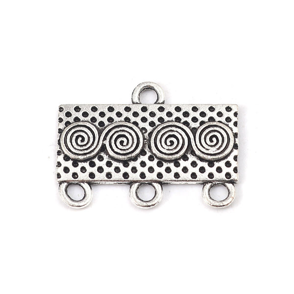 Connector Rectangle with Spiral Silver 23x17mm, 4 pieces