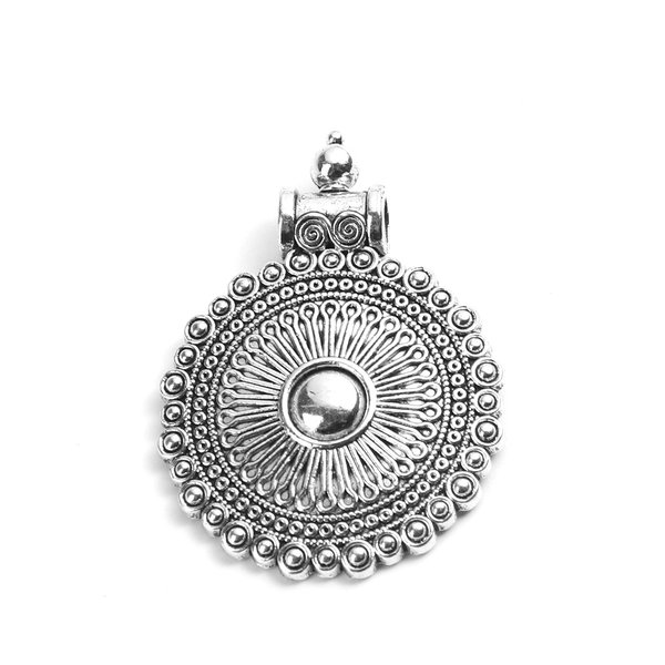 Round Bohemian Charm XL for Cord and Leather 35x45mm