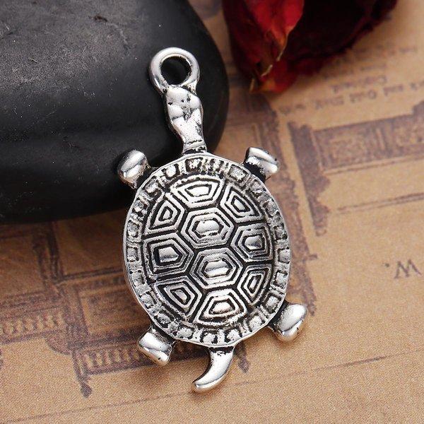 Turtle Charm XL Antique Silver 35x18mm