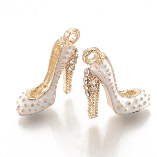 Pumps Charm Gold and White with Rhinestones 17.5x14mm
