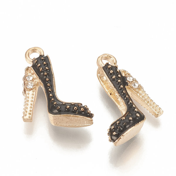 Pumps Charm Gold and Black with Rhinestones 17.5x14mm
