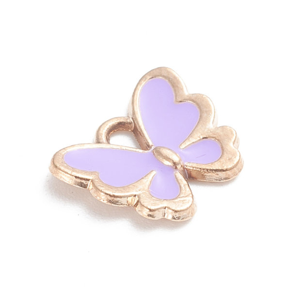 Butterfly Charm Gold and Purple 10.5x13mm
