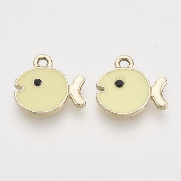 Fish Charm Gold Yellow 14x15mm