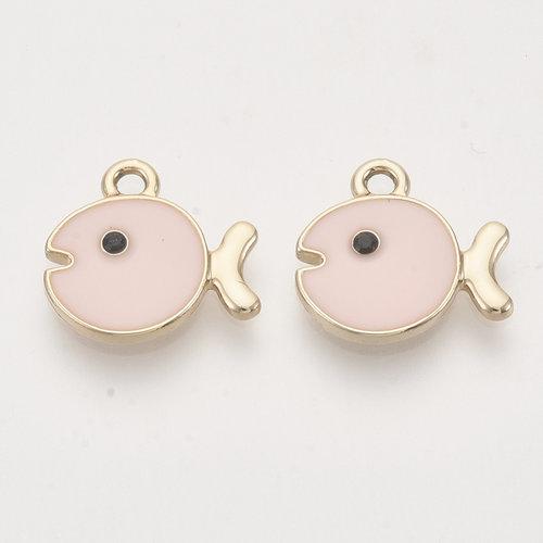 Fish Charm Gold Pink 14x15mm