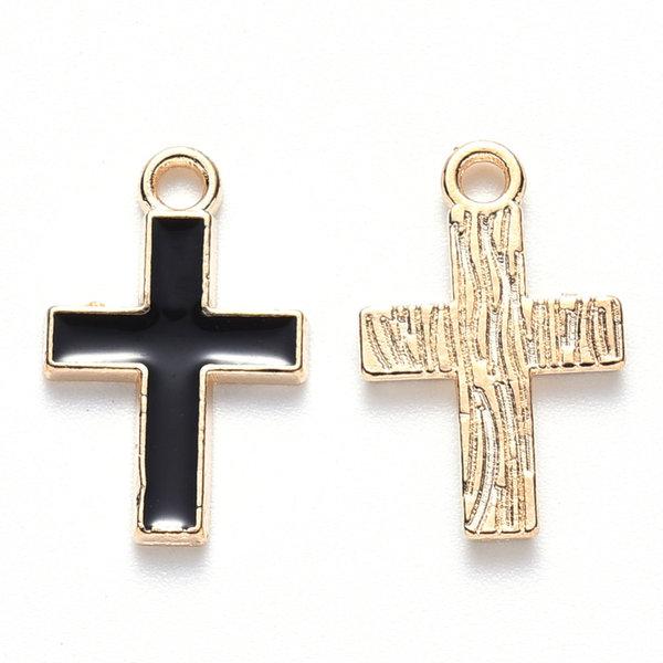 Bedel Kruis Goud met Zwart 16x10mm