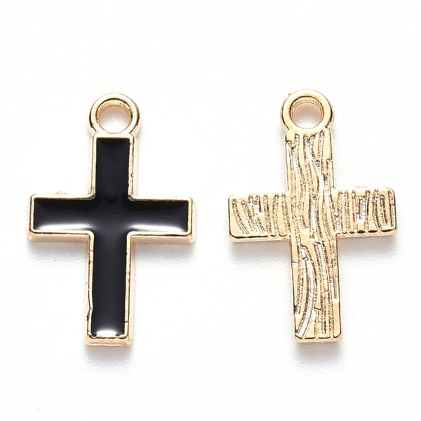 Cross Charm Gold and Black 16x10mm