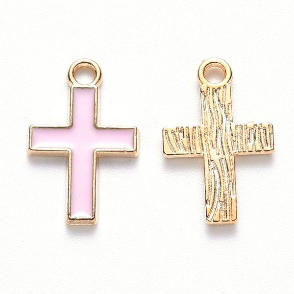 Cross Charm Gold and Pink 16x10mm