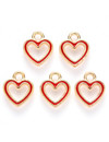Heart Charm Gold Red 12x10.5mm