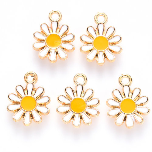Daisy Charm Gold White Yellow 14x12mm
