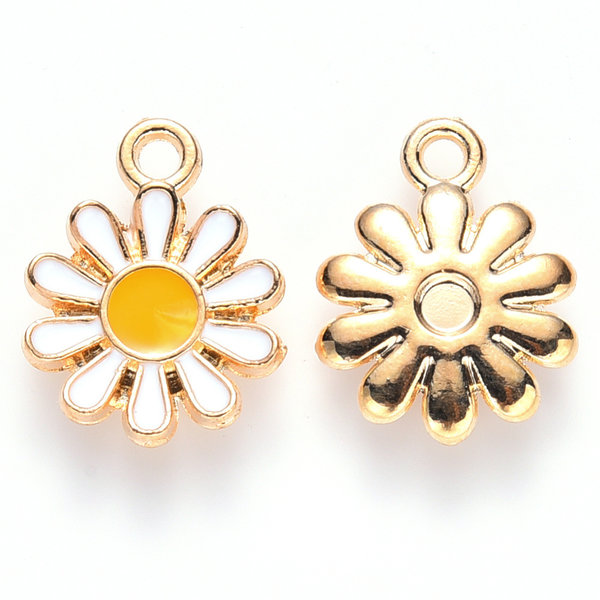 Daisy Charm Gold White Yellow 14x12mm