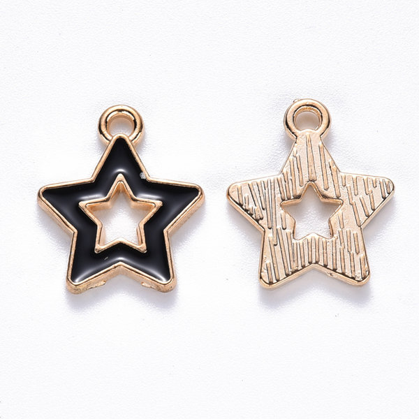 Star Charm Gold and Black 16x14mm
