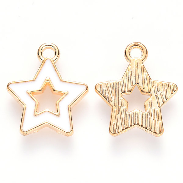 Star Charm Gold and White 16x14mm