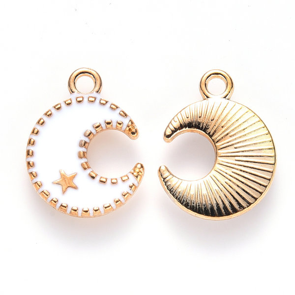 Half Moon with Star Charm Gold White 16x13mm