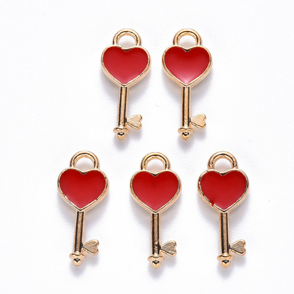 Key Charm Gold with Red Heart 16x7mm