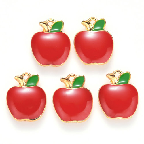 Apple Charm Gold Red Green 15x12mm
