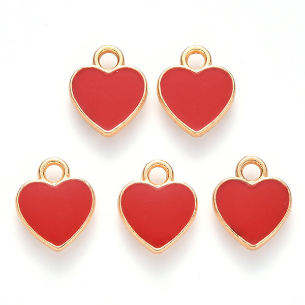 Heart Charm Gold Red 12x10mm