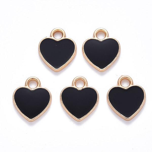 Heart Charm Gold Black 12x10mm