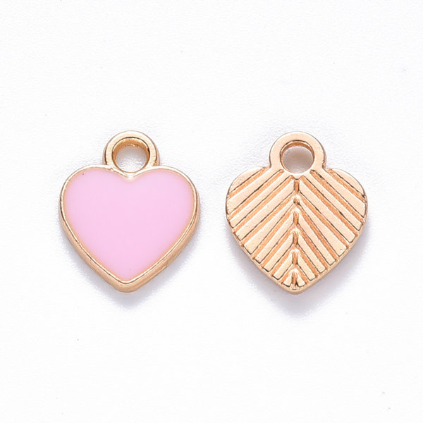 Heart Charm Gold Pink 12x10mm