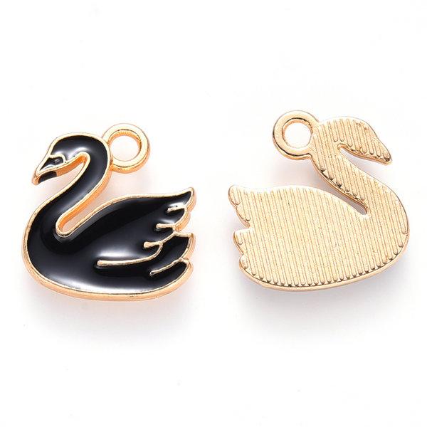 Swan Charm Gold Black 14x14mm
