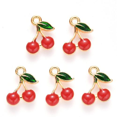 Cherries Charm Gold Red Green 13x12mm