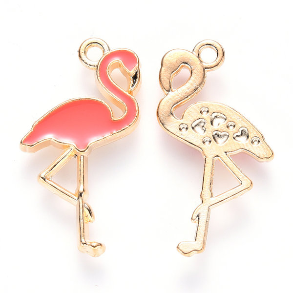 Flamingo Charm Gold Coral 26x14mm