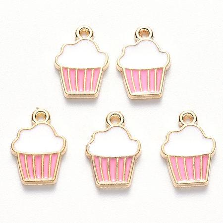 Bedel Cupcake Goud Roze Wit 16x11mm