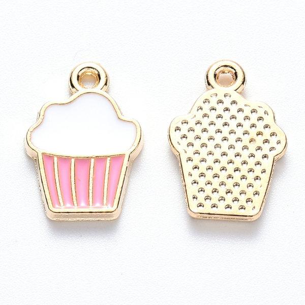 Cupcake Charm Gold Pink White 16x11mm