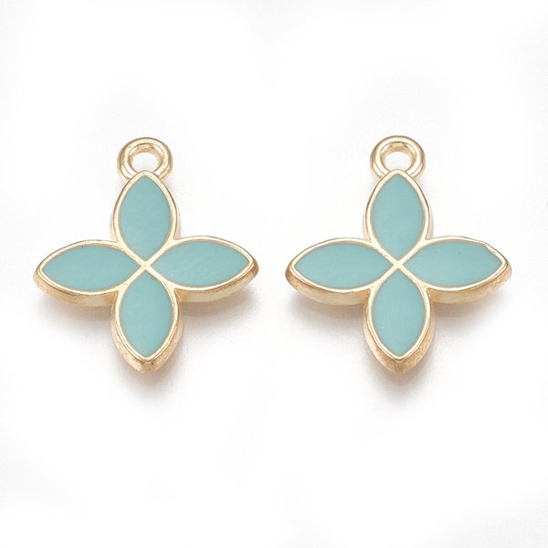Flower Charm Gold Turquoise 18x15.5mm
