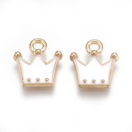 Crown Charm Gold White 11.5x10.5mm