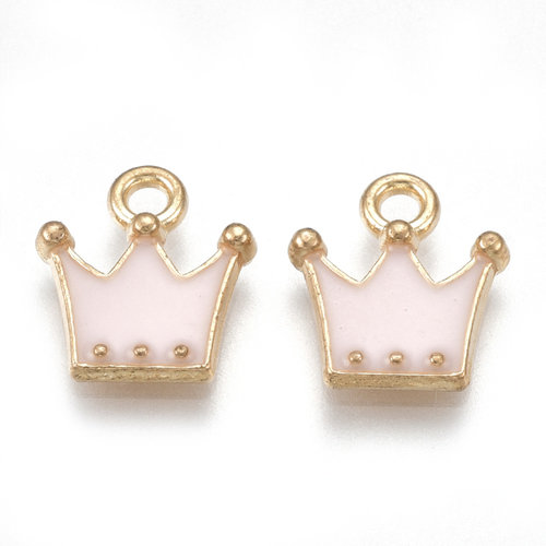 Crown Charm Gold Pink 11.5x10.5mm