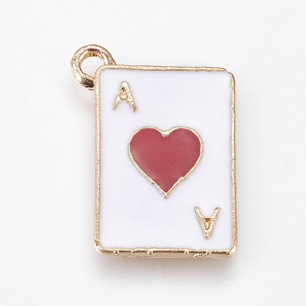 Ace of Hearts Charm Gold White 14x19mm