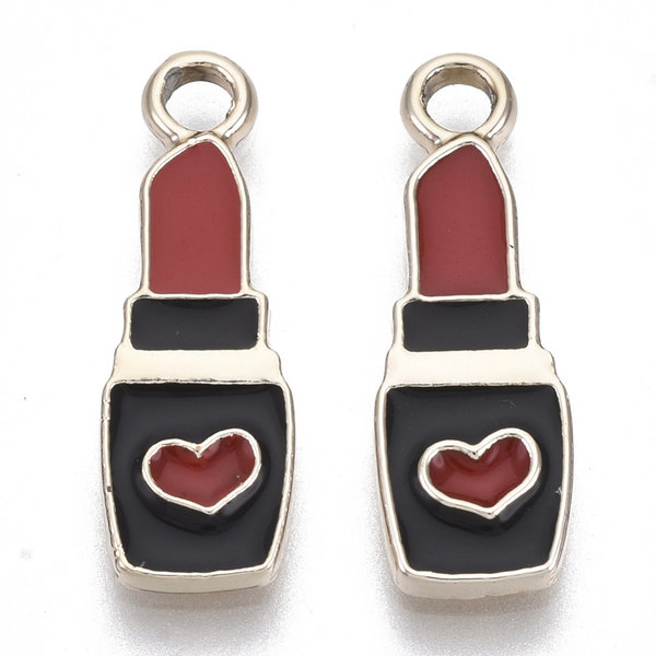 Lipstick Charm Gold Black Red with Heart 20.5x7mm