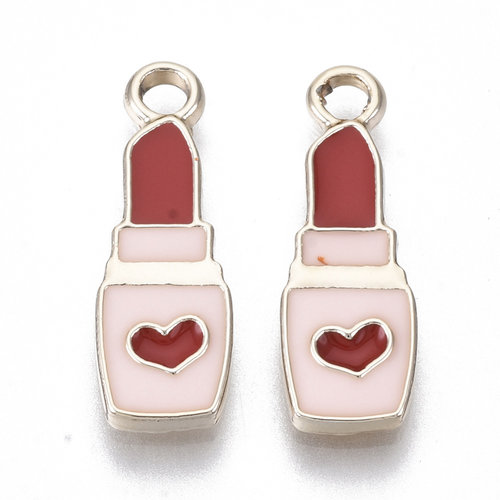Lipstick Charm Gold Pink Red with Heart 20.5x7mm