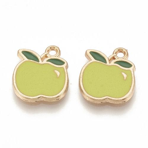 Apple Charm Gold Green 15x13mm